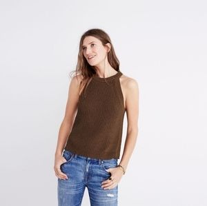 Madewell Valley Sweater Tank in Olive Green